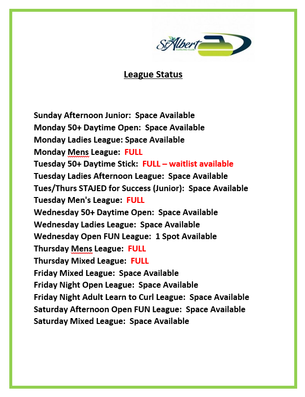 League Status for Website as of Sept 16 20